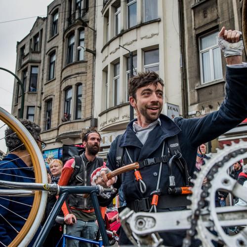 Willem-Frederik Schiltz op het fietsprotest op de Turnhoutsebaan, Antwerpen voor ringland.   CREDIT: Imagedesk / Jonas Roosens